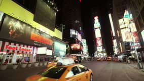 Wide angle shot of street traffic at Times Square  - videoclip Manhattan New York   APRIL 25,  2015 stock video