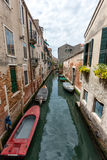 Wide angle shot of streets and canals in Venice Royalty Free Stock Photo