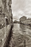 Wide angle shot of streets and canals in Venice Stock Image
