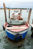 Wide angle shot of tied bout in Venice Royalty Free Stock Photography
