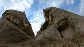 Wide Angle Shot Timelapse of Unusual limestone rock formation in Cappadocia,Goreme - Turkey - fast motion video of. Travel destination. 4k UHD stock video