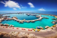 Wide angle shot of Vlychada port on Santorini island Royalty Free Stock Photography