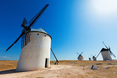 Wide angle shot of windmills in  La Mancha Stock Images