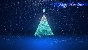 Wide angle shot of winter theme for Christmas or New Year background with copy space. Xmas tree from glow shiny. Particles in mid-frame. 3d Xmas tree V3 with stock video