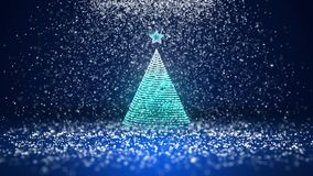Wide angle shot of winter theme for Christmas or New Year background with copy space. Xmas tree from glow shiny. Particles in mid-frame. 3d Xmas tree V3 with stock footage
