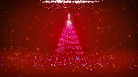 Wide angle shot of winter theme for Christmas or New Year background with copy space. Xmas tree from particles in mid. Frame. 3d Xmas tree V2 with glitter stock video footage