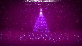 Wide angle shot of winter theme for Christmas or New Year background with copy space. Xmas tree from particles in mid. Frame. 3d Xmas tree V2 with glitter stock footage