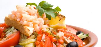 Wide angle shrimp salad Royalty Free Stock Photography