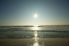 Wide angle sun rise. Wide angle sunrise over ocean royalty free stock photography
