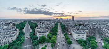 Sunset skyline of Paris with la defense and streets Stock Images
