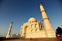 Wide angle Taj Mahal. Mausoleum of Taj Mahal in late afternoon light Royalty Free Stock Images