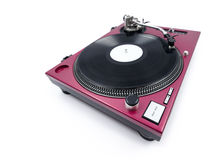 Wide Angle Turntable. A wide angle shot of a cherry red painted turntable with a record playing Royalty Free Stock Image