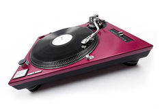 Wide Angle Turntable Front View. A wide angle shot of a cherry red turntable from the front Royalty Free Stock Photography