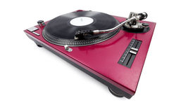 Wide Angle Turntable Right Side. A wide angle shot of a cherry red turntable from the pitch side Royalty Free Stock Photography