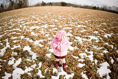 Wide angle view. Photo of a child taken with a wide ange lens Royalty Free Stock Image