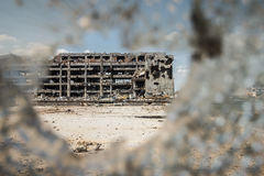 Wide angle view of airport ruins through glass Stock Images