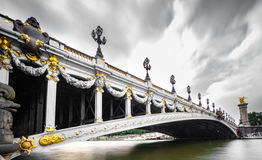 Wide angle view of Alexandre III Bridge, Paris France Royalty Free Stock Image