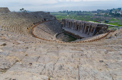 Wide angle view of Ancient Amphitheater at city of Hierapolis, Pamukkale, Turkey Royalty Free Stock Image