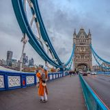 Wide angle view architecture from Tower Bridge with tourists and Stock Photo