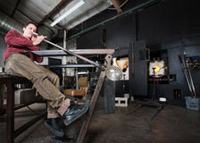 Worker Blowing Glass Royalty Free Stock Photo