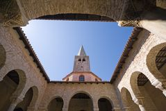 Wide angle view of Atrium of Euphrasian basilica. In the historic centre of Porec, Croatia Royalty Free Stock Images