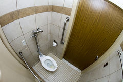Bathroom in a hospital. Wide angle view of a bathroom Stock Image