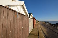 Wide angle view of beach huts Royalty Free Stock Photography