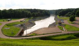Wide Angle View of The Beautiful Arkabutla Dam Royalty Free Stock Image