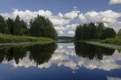 Wide angle view of beautiful lake in Finland Stock Photography