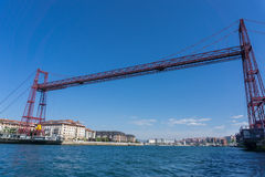 Wide angle view of the Bizkaia suspension bridge Royalty Free Stock Image