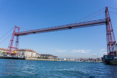 Wide angle view of the Bizkaia suspension bridge Stock Photo