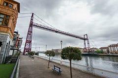 Wide angle view of the Bizkaia suspension bridge Royalty Free Stock Photos