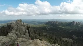 A Wide Angle View from Black Elk Peak in South Dakota`s Black HIlls on a Summer Day as Clouds Roll Overhead 4K Timelapse stock video