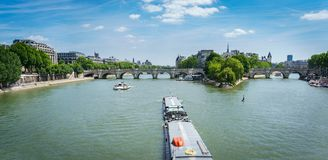 Boat over Seine river, Paris Royalty Free Stock Photo