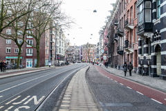 Wide Angle View of City Life in Amsterdam Stock Photography