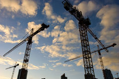 Wide angle view of a construct. Ion site with many cranes around late afternoon Stock Photography