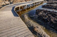 Wooden bridge across the dry lake Stock Photography