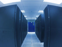 Wide angle view data center in blue tone Royalty Free Stock Photography