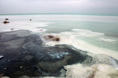 Wide angle view of the dead sea stock photography