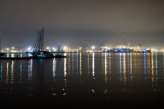 Wide angle view of docks, La Spezia, Italy. Night. Night. La Spezia is a busy container and shipping centre Stock Photos