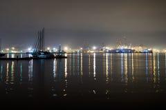 Wide angle view of docks, La Spezia, Italy. Night. Stock Photos