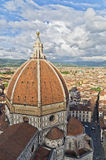 Wide angle view on a dome of Santa Maria del Fiore cathedral in Florence Stock Images