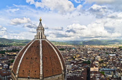 Wide angle view on a dome of Santa Maria del Fiore cathedral in Florence Stock Photography
