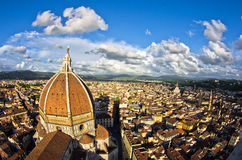 Wide angle view on a dome of Santa Maria del Fiore cathedral in Florence Stock Photo