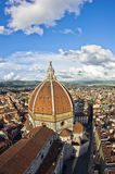 Wide angle view on a dome of Santa Maria del Fiore cathedral in Florence Royalty Free Stock Photos