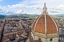Wide angle view on a dome of Santa Maria del Fiore cathedral in Florence Stock Image