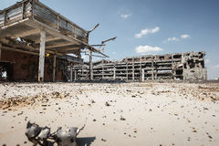 Wide angle view of donetsk airport ruins Stock Photography