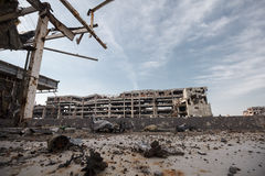 Wide angle view of donetsk airport ruins Stock Image