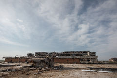 Wide angle view of donetsk airport ruins Royalty Free Stock Photo