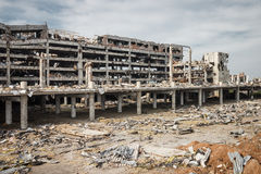 Wide angle view of donetsk airport ruins Royalty Free Stock Photos